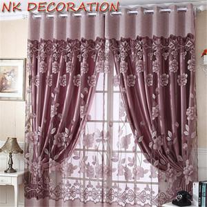 DEKO 1m * 2.5m Moderne Burnout-Blumen-Tulle-Fenster-Vorhang Set Blackout bloßen Vorhang für Lliving Raum Schlafzimmer