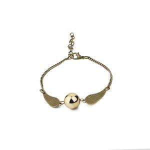 Fashion Harry P Bracelet Men Women Vintage Style Angel Wing Charm Golden Snitch Pendant Hand Chain for Potter Movie Fans Accessories