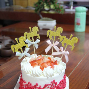 Topper bolo bandeira para DIY Cupcake Wrapper Baking Cup aniversário / chá de festa de casamento bar Mesa decoartion baby shower golden horse glitter papel
