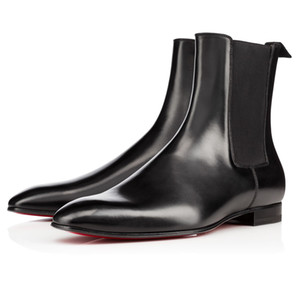 Super Qualidade Red Bottom Roadie Plana Para Os Homens Ankle Boots Design Confortável Couro Genuíno Perfeito Vestido de Festa de Casamento Andando EU38-47