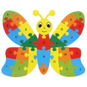 Cartoon Animal Alphabet Jigsaw para niños Educación temprana de madera 26 letras Puzzle Toy Kids regalo envío gratis