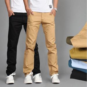 RUBU Novo Design Homens Casuais calças de Algodão Calças Finas Calças Retas Moda Negócio Sólida Cáqui Calças Pretas Homens 28-38