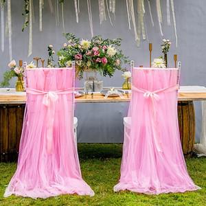 결혼식 의자 sashes 낭만주의 메시 결혼식 의자 덮개 뒤 Sashes 활 오션 프런트 정원 연회 장식 생일 결혼식 호의 용품