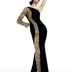 Elegant One-Shoulder Sequins and Satin Mermaid Evening Dresses Long Sleeve Zipper Back Long Prom Gown Special Design Free Ship Black Gown
