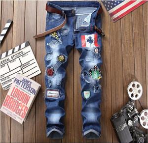 2018 automne des jeans de grande taille nouveau jeans trou d'impression lavés hommes denim pantalon peinture jeans jambe Streight occasionnels taille Livraison gratuite 29-38 CJ1806