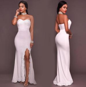 Elegante Branco Barato Dama de Honra Vestidos Longo Sereia Querida Side Dividir Convidados Do Casamento Vestido Até O Chão De Cetim Partido Vestidos Custom Made