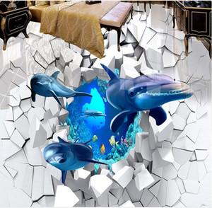 3D Floor Wallpaper HD Il mondo subacqueo Vinyl Wallpaper per bagno Soggiorno 3D Floor Painting impermeabile
