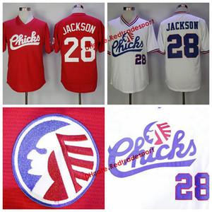 Ucuz Retro 1986 Memphis Chicks Bo Jackson Beyzbol Formaları Moive Mens 28 Bo Jackson Kırmızı Beyaz Dikişli Beyzbol Gömlek