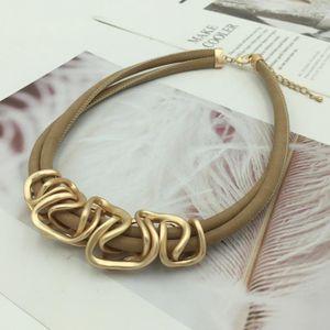 Geometrie Legierung Anhänger Choker Halskette Doppelschicht Leder Seil Kette Halsketten Für Frauen Rosa Schmuck Mrs gewinnen
