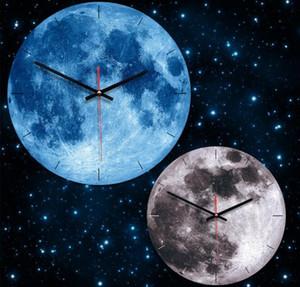Lua relógio de parede do planeta circular de parede pendurado relógio de acrílico relógios de madeira para sala de estar decoração de casa