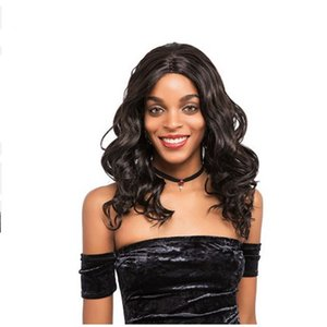 hot fashion brazilian Hair African Ameri Medium length loose wave wig Simulation Human Hair wave wigs in stock