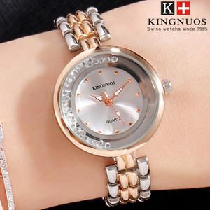 Nouvelle Marque KINGNUOS Étanche Quartz Montre femmes Rose Or diamant daydate designer montres Montres Mode Casual Montres