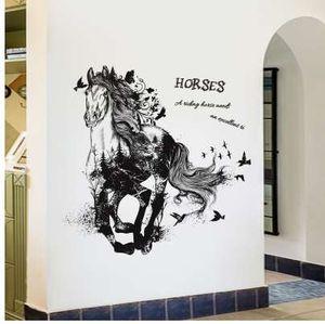 Negro Run Of Horse Extraíble Pegatinas de Pared de Dibujos Animados Sala de estar Sofá Fondo Home Decor Sticker Mural