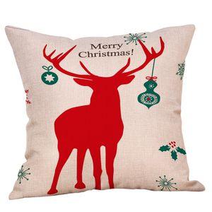 Merry Christmas! Cushion Cover Let It Snow Deer Xmas Santa Claus Socks Balloon Home Decorative Pillows Cover Nordic Sleigh Case