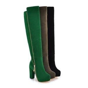 여성 겨울 허벅지 높은 부츠 플랫폼 가짜 스웨이드 가죽 무릎 부츠 여자 하이힐 두꺼운 발 뒤꿈치 플러스 큰 크기 : 35-43
