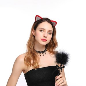 Niñas Orejas de gato Hairband Mujeres con estilo Rhinestone Diadema Sexy Hair Band Accesorios Headwear Cartoon Hair Hoop