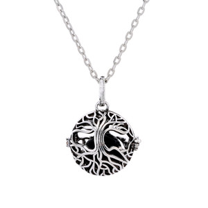 New Tree of Life Cage Pendant Lava-rock Aromatherapy Essential Oil Diffuser Necklace Hollow Out Ball Necklaces Women Fine Jewelry
