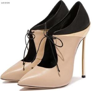 2018 Mode Frauen Patchwork Leder Stiefel spitz Zehen Stiefel Frauen Party schnüren sich Stiefel Berühmtheit Schuhe High Heels Booties
