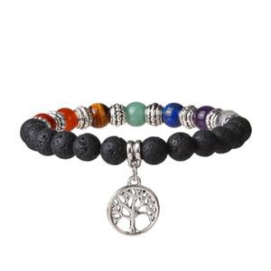 7 Chakra Yoga perline Bracciale Meditation Healing Equilibratura Round Stone Stretch Bracciale con Albero della Vita / Lotus / OM Symbol G803S F