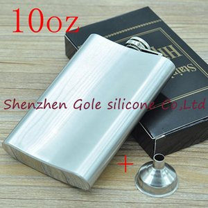 Wholesale 200pcs/lot Mini Portable 10oz Stainless Steel Hip Flask Liquor Whisky Alcohol Cap + Funnel Drinkware Hot Sale Gift