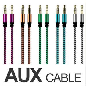 Trançado de tecido AUX Cabo de áudio 1M 3FT 3,5 mm Stero Car Aux áudio de Extensão cabos para telefone PC MP3 Headphone Speaker OM-I5