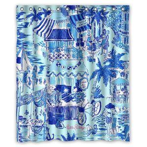 "Lilly Pulitzer Summer Prints Blue Custom Shower Curtain 60"" x 72"""