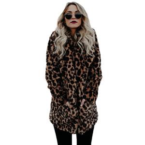 Al por mayor-YJSFG casa de alta calidad de lujo de piel sintética abrigo para mujer Abrigo de invierno cálido moda leopardo de piel artificial de las mujeres chaqueta de abrigos