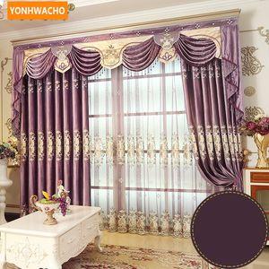 Cortinas feitas sob encomenda de Alta qualidade de luxo França bordado chenille grosso roxo pano blackout cortina tule valance cortina N762