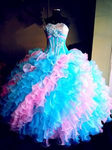 2019 Nova Multi Color vestido De Baile Quinceanera Vestidos Cristais Para 15 Anos Doce 16 Plus Size Pageant Prom Vestido De Festa QC1038