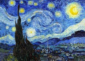 Vincent van Gogh La noche estrellada real pintado a mano / H impresión abstracta del paisaje del arte pintura al óleo sobre lienzo oficina de la cultura mural de varias Tamaños l100