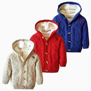 Garçons Cardigan Kaki Plaid chaud épais Fleece pull en tricot Enfants Casual hiver bébé Cardigan Automne 2019 enfants Pull
