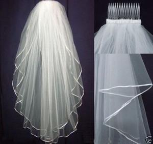Blanco / Marfil Wedding Veil Bridal 2 Layer Velos Edge de satén con peine Boda Ocasión formal Accesorios nupciales