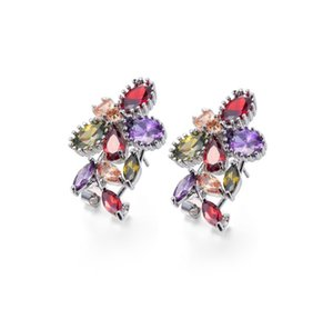 6 Paare Lot Glück Glanz Neueste Zirkonia Kristall Edelstein 925 Sterlingsilber-2-Farben-Blumen-Bolzen-Ohrringe Hochzeit Ohrringe Luckyshine