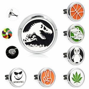 Dinosaur penguin leaf Elephant Perfume Locket Car Diffuser locket vent clip Essential Oil medallion Magnetic 10Pad random