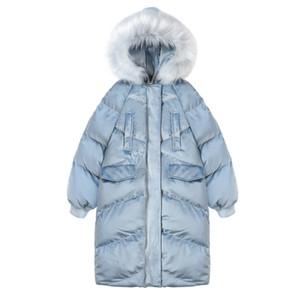 OLGITUM 2018 New Fashion Women's Cotton Coat inverno Big Fur Jacket Long Women Parka donna cappotti giacche donna CC574