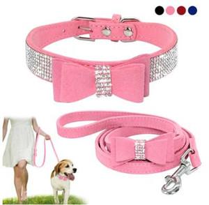 Collier de laisse et laisse pour chien en cuir Seude souple Bling strass Bowknot petits moyens chiens colliers de chat corde de marche rose