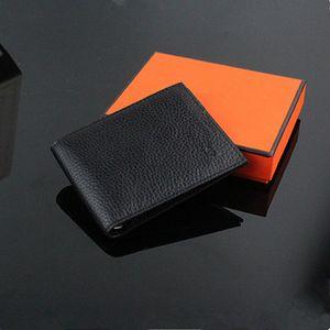 أسود كلاسيكي مصمم جودة عالية لينة جلد طبيعي المحفظة قصيرة للرجال الأزياء الشعبية المال محفظة حامل بطاقة الائتمان محفظة