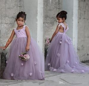 Цветочница платья аппликации с коротким рукавом Flowergirl платье тюль дети вечернее платье с поездом для свадьбы