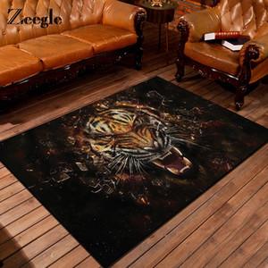 거실 미끄럼 방지 커피 테이블 바닥 플란넬 매트 어린이 침실 러그를 들어 Zeegle 3D 타이거 인쇄 카펫
