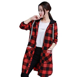 Female Spring Autumn Windbreaker 2018 New Red Black Lattice Jacket Long Sleeved Loose Hooded Single Breasted Fashion Hot ZTT48