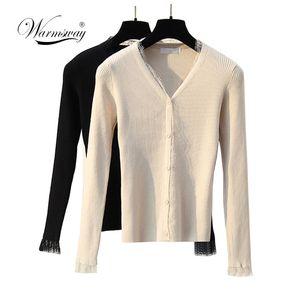 Casaco feminino Primavera Outono Knitwear B-092 senhoras Short Cardigan V Neck Patchwork Lace camisola de manga longa casaco de lã fina