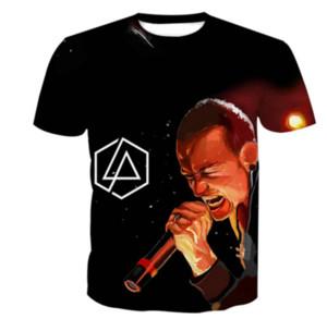 Venda por atacado - Mais recente Moda Womens / Mens Couples Linkin Park Chester Bennington Engraçado 3D Impressão Casual T-Shirts Frete Grátis ZL095