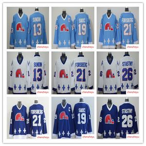 Quebec Nordiques Jerseys 13 Mats Sundin 21 Peter Forsberg 26 Peter Stastny 19 camisetas de hockey Joe Sakic para hombres
