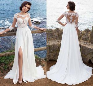 Sexy Beach Wedding Dresses Lace Chiffon 3 4 Long Sleeves Wedding Dresses Sheer Neck Illusion Bodice Split Bridal Dresses Sweep Train