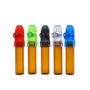 6pcs cabeza de bala pequeña botella de cristal frasco de pastillas caja de tabaco snorter, prensa de batir shishahookah fumar vaporizador tubería W18C