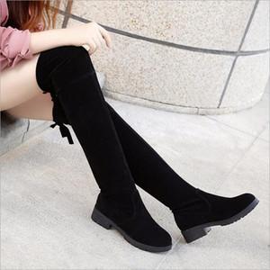 Klassische Stretch Stiefel 2020 europäische und amerikanische Art und Weise neue über das Knie Stiefel Version dünne Beine lange Stiefel mit flachem Absatz schlank