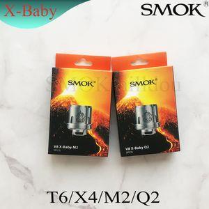Auténtico SMOK TFV8 X-Baby Coil Q2 0.4ohm M2 0.25ohm X4 T6 Cabezal de repuesto de bobinas dobles para TFV8 X-Baby Tanks Genuino Smoktech