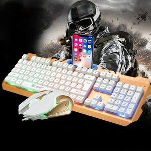 Optique Gaming Clavier et souris Combos Suspension et touches lumineuses Rainbow Backlights Gamer pour support de bureau en métal avec support de téléphone