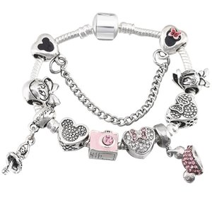 Cartoon style européen Glamour Perle Bracelet Style Pandora Flocon de cristal Pendentif Lady Bangle Bijoux