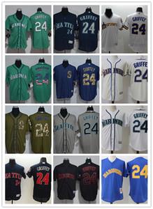 Wholesale Custom Men Women Youth Mariners Jersey #24 Ken Griffey Home Green White Grey Baseball Jerseys